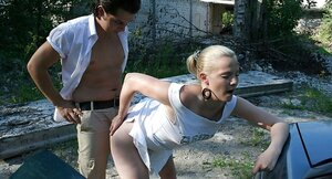 Naughty Russian blonde fucked by a guy but sucked his friend also
