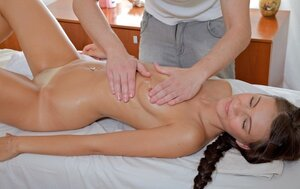 Masseur oiled modest gal and turned her up with a pair of touches to have an intercourse