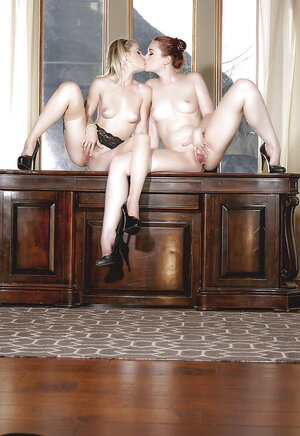 Young and moreover fresh lesby boss and moreover secretary do inappropriate stuff in the office