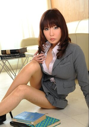 Cutest Japanese bookworm with awesome titties teases with piping-hot decollete