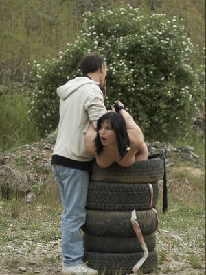 Fella took brunette stepdaughter to the steppe getting her nude as a punishment