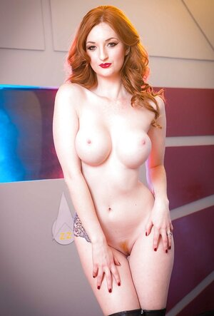 Space officer with red hair and additionally round boobs loves showing her undressed assets