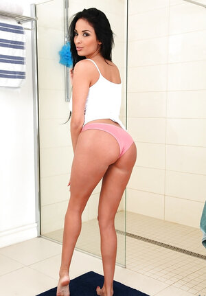 French top adult video star and moreover additionally performer with natural tits goes to the bathroom and moreover additionally strips