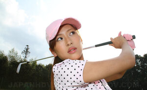 Far eastern golf broad wears shirt and plus skirt but dislikes panties and plus flashes snatch