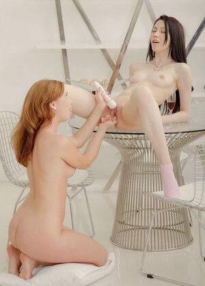 Wine motivates a pair of innocent European babes in the mood to have fun with a dildo